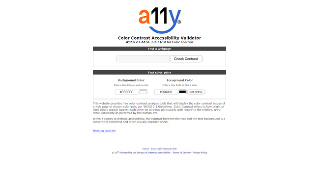 A11y Color Contrast Accessibility Validator web accessibility tool