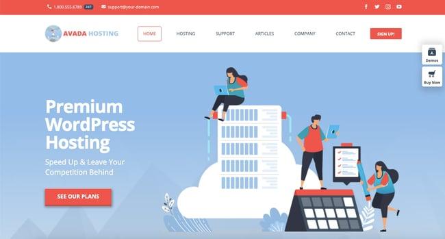 Web hosting demo of best-selling WordPress theme Avada