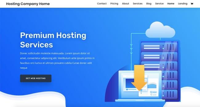 Web hosting homepage demo of best-selling WordPress theme Divi