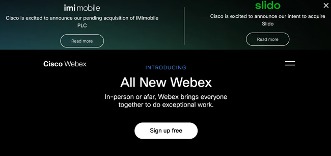 Webex Website with a dark black and green background and text that reads Introducing All New Webex Sign up free