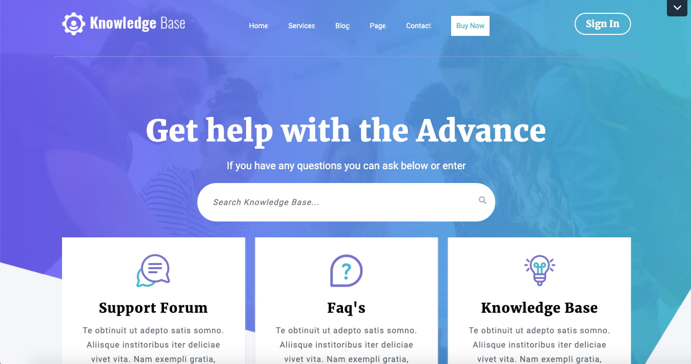 Website with Knowledge Base, Support Forum, and FAQs build with the Knowledge Base WordPress Theme by VW Themes