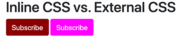 Two different button styles demonstrating rule of specificity of inline styling