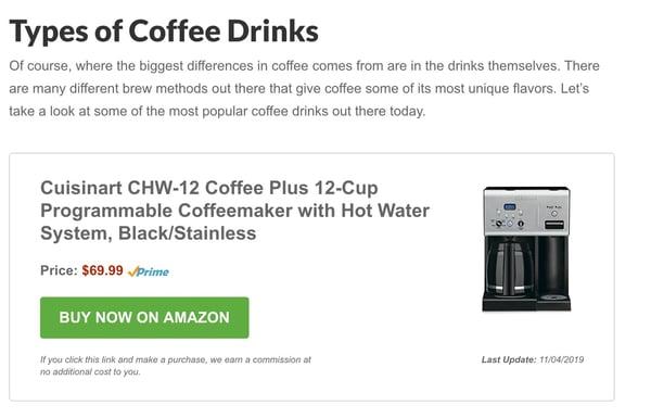 Cuisinart Coffeemaker contextual targeting ad.