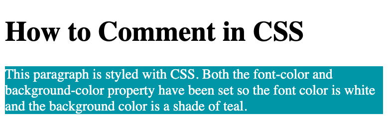 Code demo of paragraph styled with text and background color and with single-line comment  in CSS