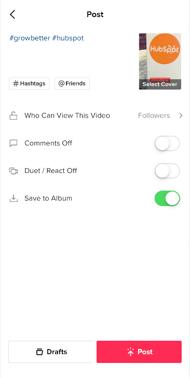 Post settings screen in TikTok app