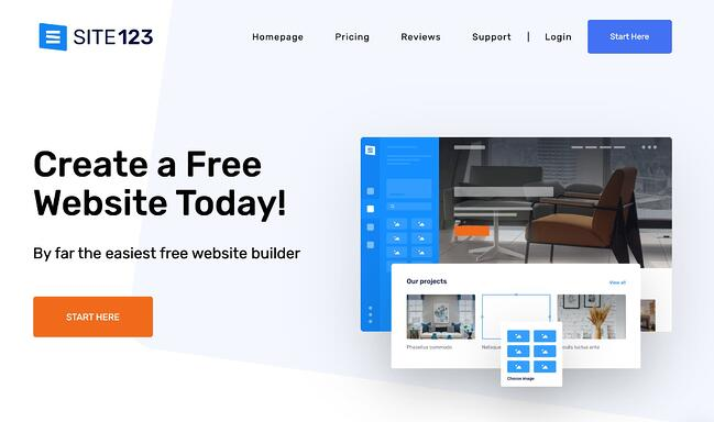 the site 123 homepage