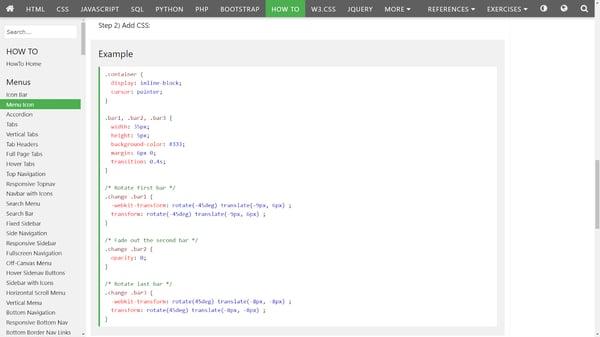 Dynamic hamburger button CSS.