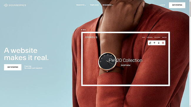 the squarespace homepage