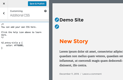 Test CSS code before publishing to your site.