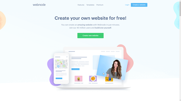 Webnode website builder.