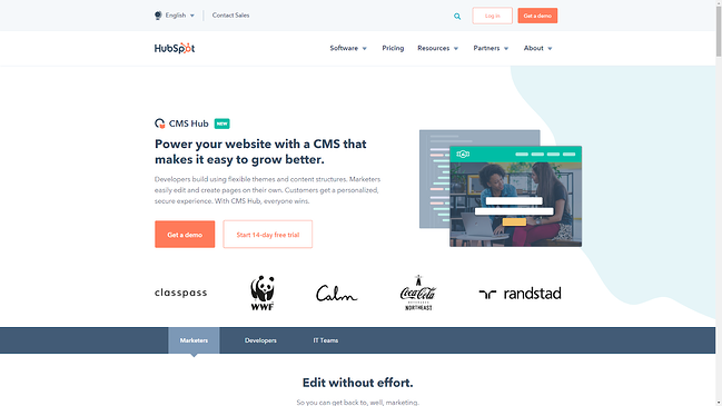 HubSpot CMS for building your website.