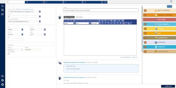 azuredesk customer ticket communication screen