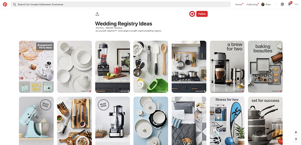Target products presented in Target's own Wedding Registry Ideas Pinterest Board