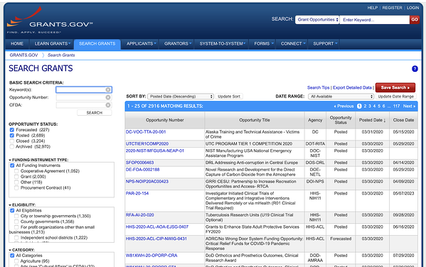 Grants.gov grant search database