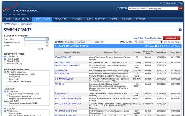 Grants.gov拨款搜索数据库