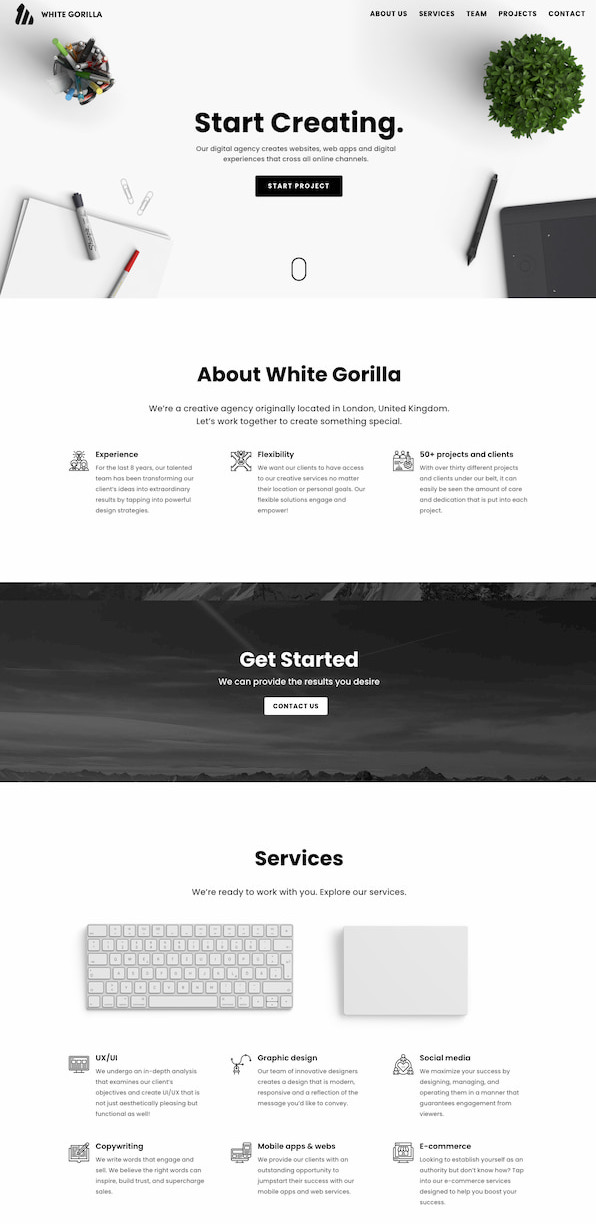 White Gorilla website built with Divi theme