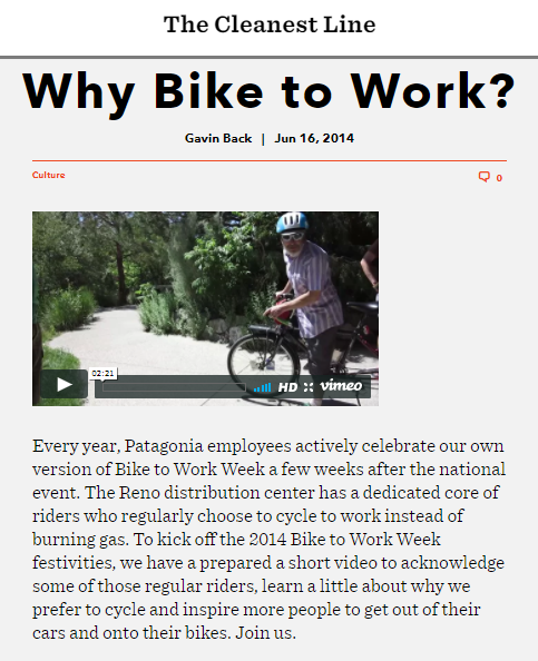 Patagonia bike to work week blog post