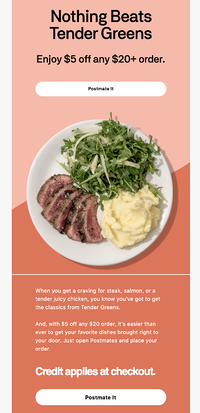 Postmates discount marketing email