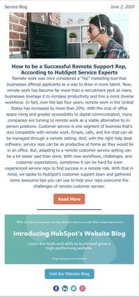 HubSpot Service Blog Email