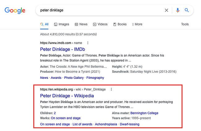 Wikipedia page is second result on Google SERP for keyword peter dinklage