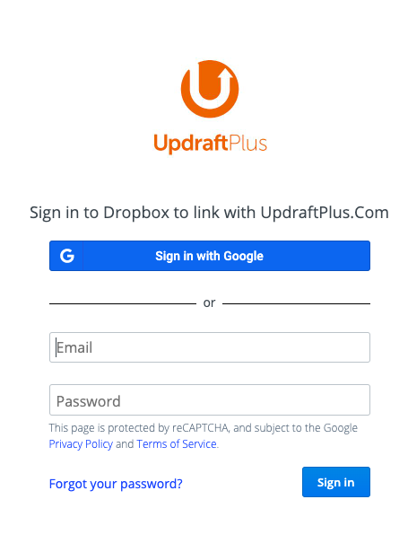 Window to sign in to Dropbox to link to your Updraft Plus plugin account