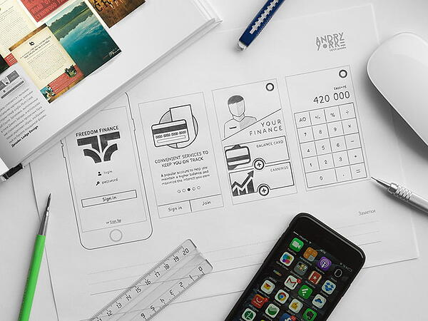 Hand-drawn and detailed wireframe example