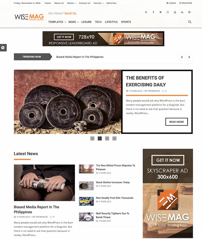 Wise Mag wordpress theme demo with advertising space