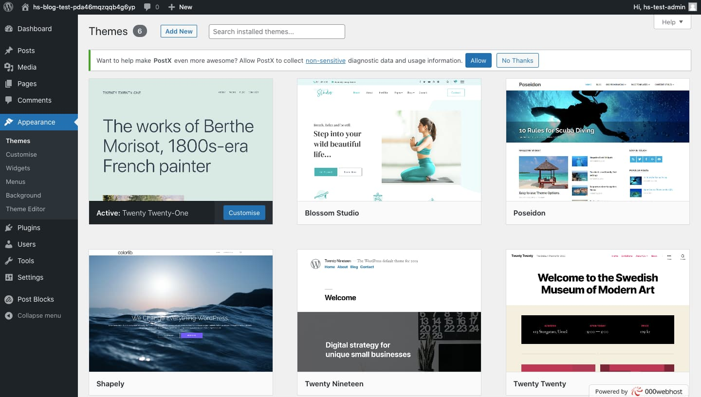 WordPress dashboard where you can browse and install thousands of WordPress themes