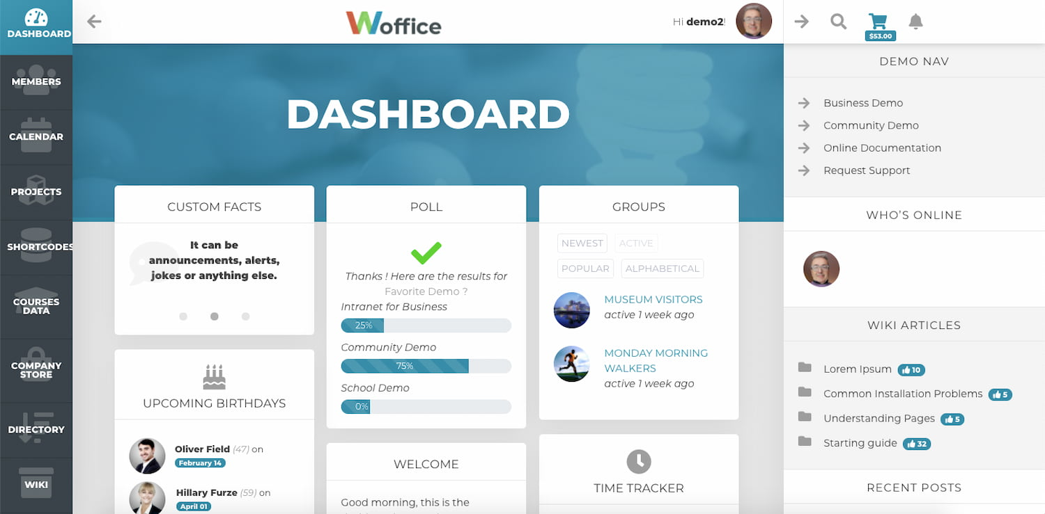 Woffice theme demo shows dashboard with polls, groups, projects, calendars and other key features of a BuddyPress site