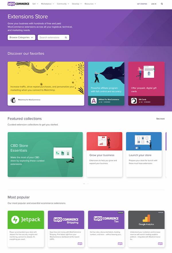 WooCommerce extensions homepage