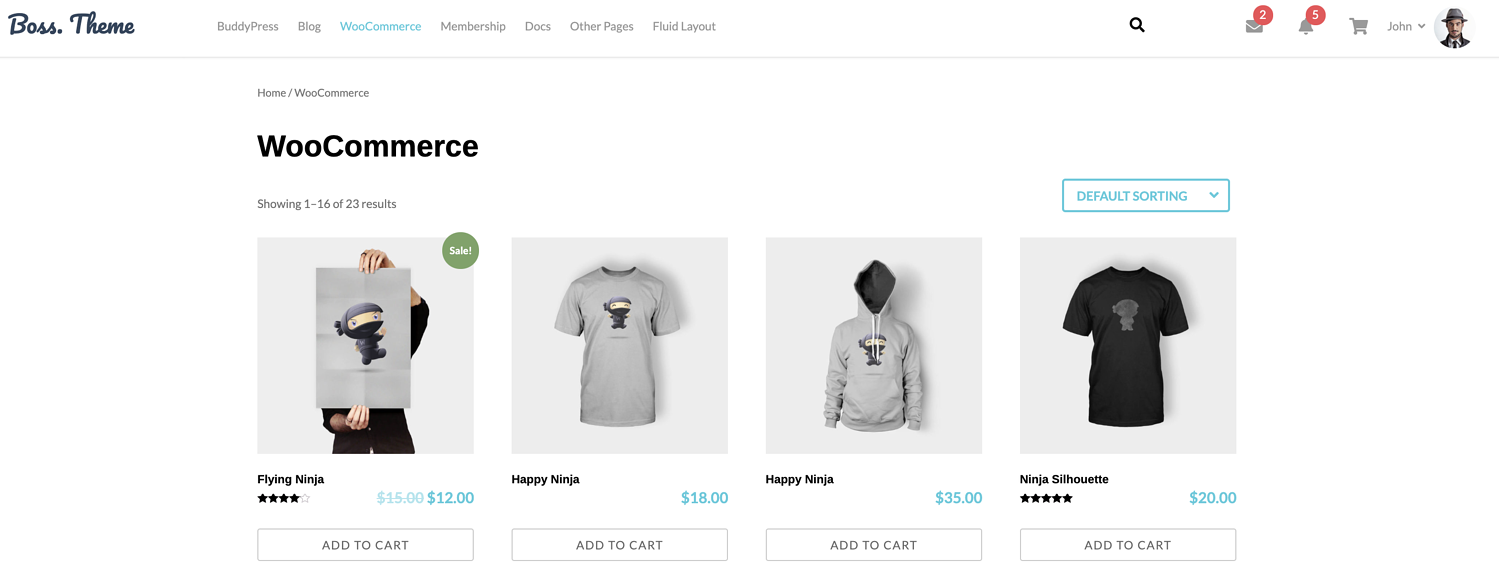 WooCommerce in boss theme review