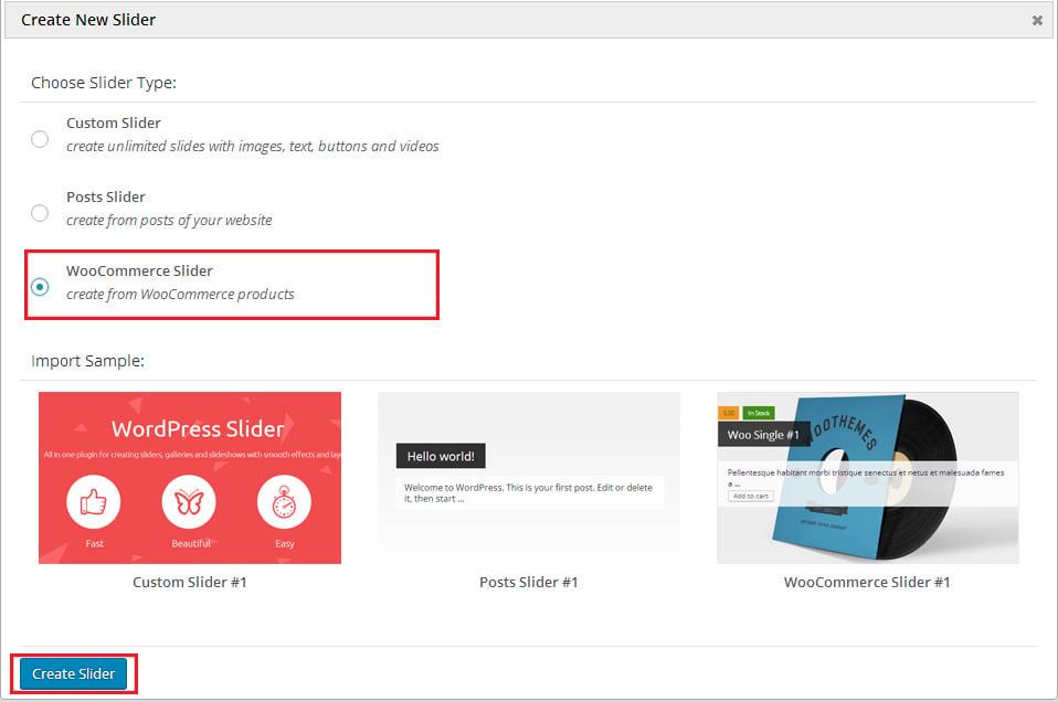 WooCommerce slider feature in MotoPress slider plugin