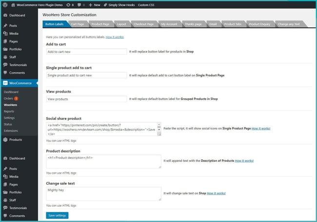 WooHero WooCommerce Store Customizer plugin settings page
