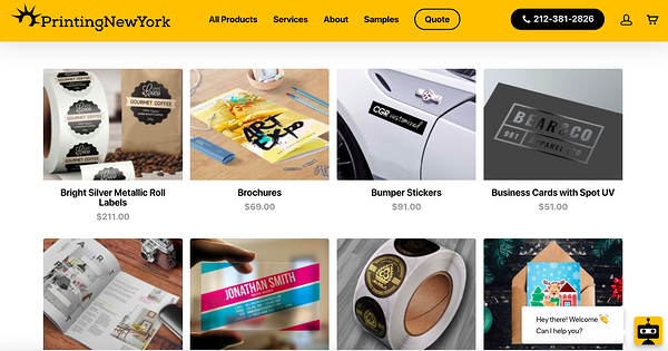 printing new york woocommerce store homepage