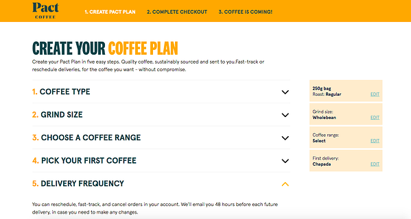 pact coffee woocommerce store homepage