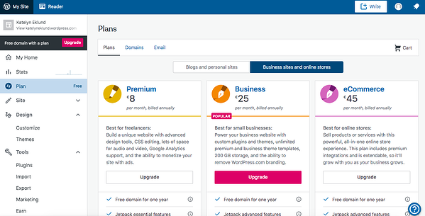 Only the business and ecommerce WordPress.com plans will allow you to install the woocommerce plugin