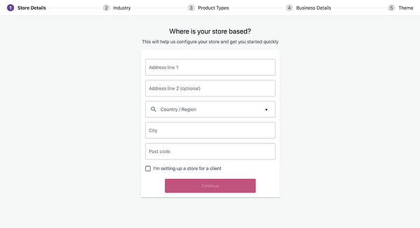 WooCommerce launch wizard will popup once the woocommerce plugin has been installed