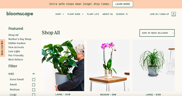 bloomscape woocommerce store homepage