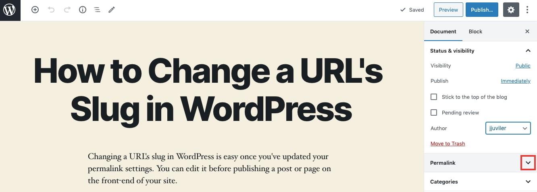 Clicking permalink dropdown menu in WordPress Gutenberg editor to change slug