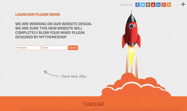 WordPress coming soon theme demo for Launcher theme