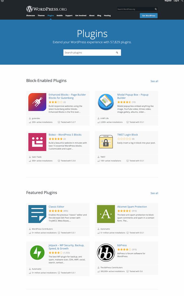 WordPress plugin directory page showing featured free plugins