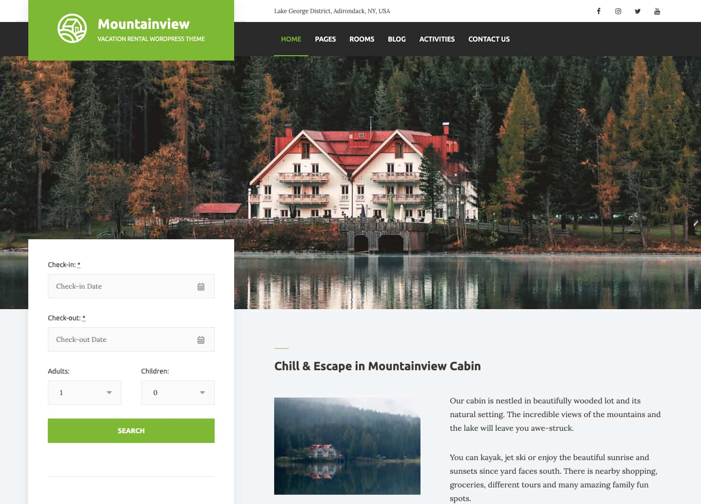 WordPress site with custom booking form created via Hotel Booking Lite plugin
