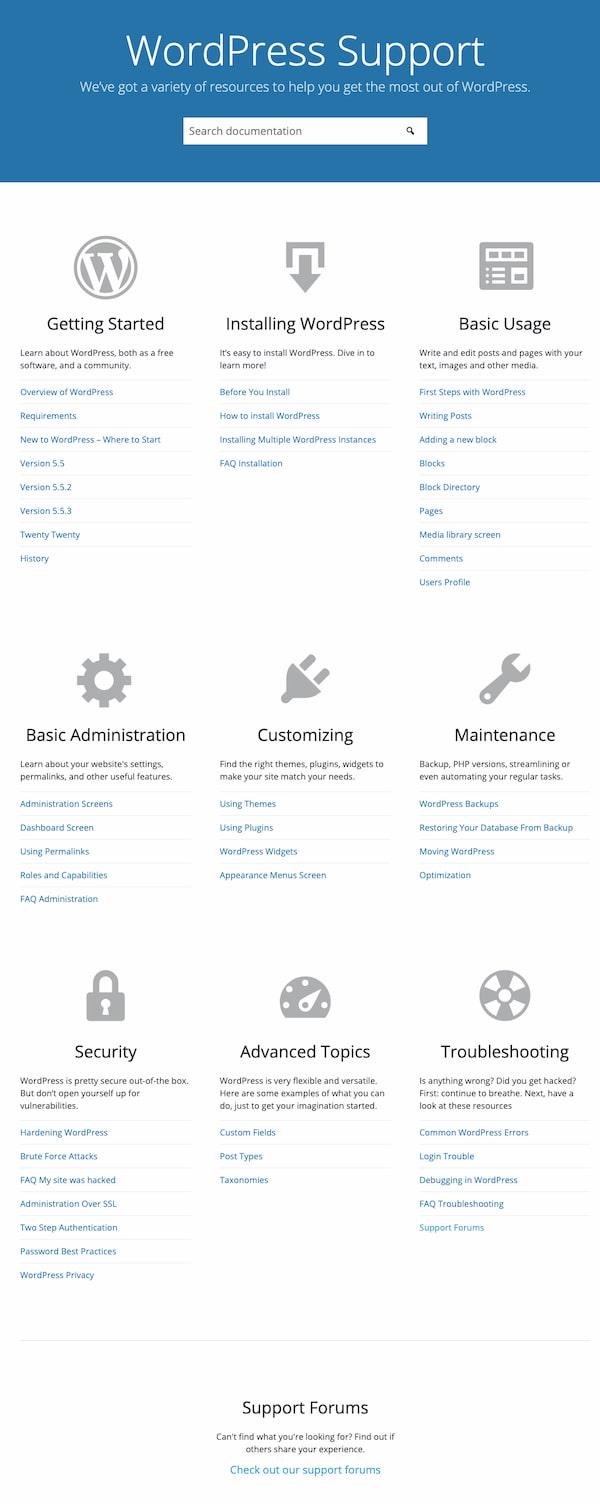 WordPress support center