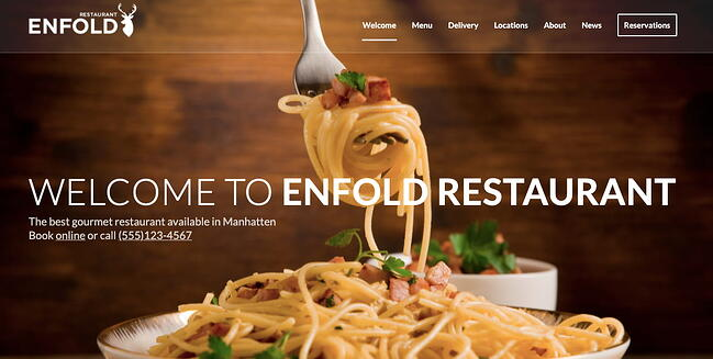 WordPress theme Enfolds Classic Restaurant demo features mutliple parallax image sections