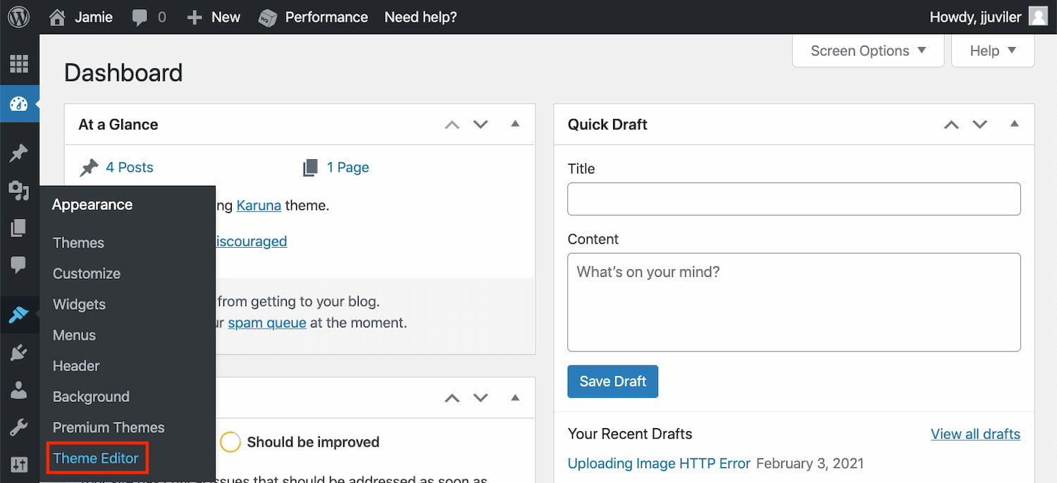 WordPress theme editor can be accessed in WordPress dashboard by clicking Appearane > Theme Editor