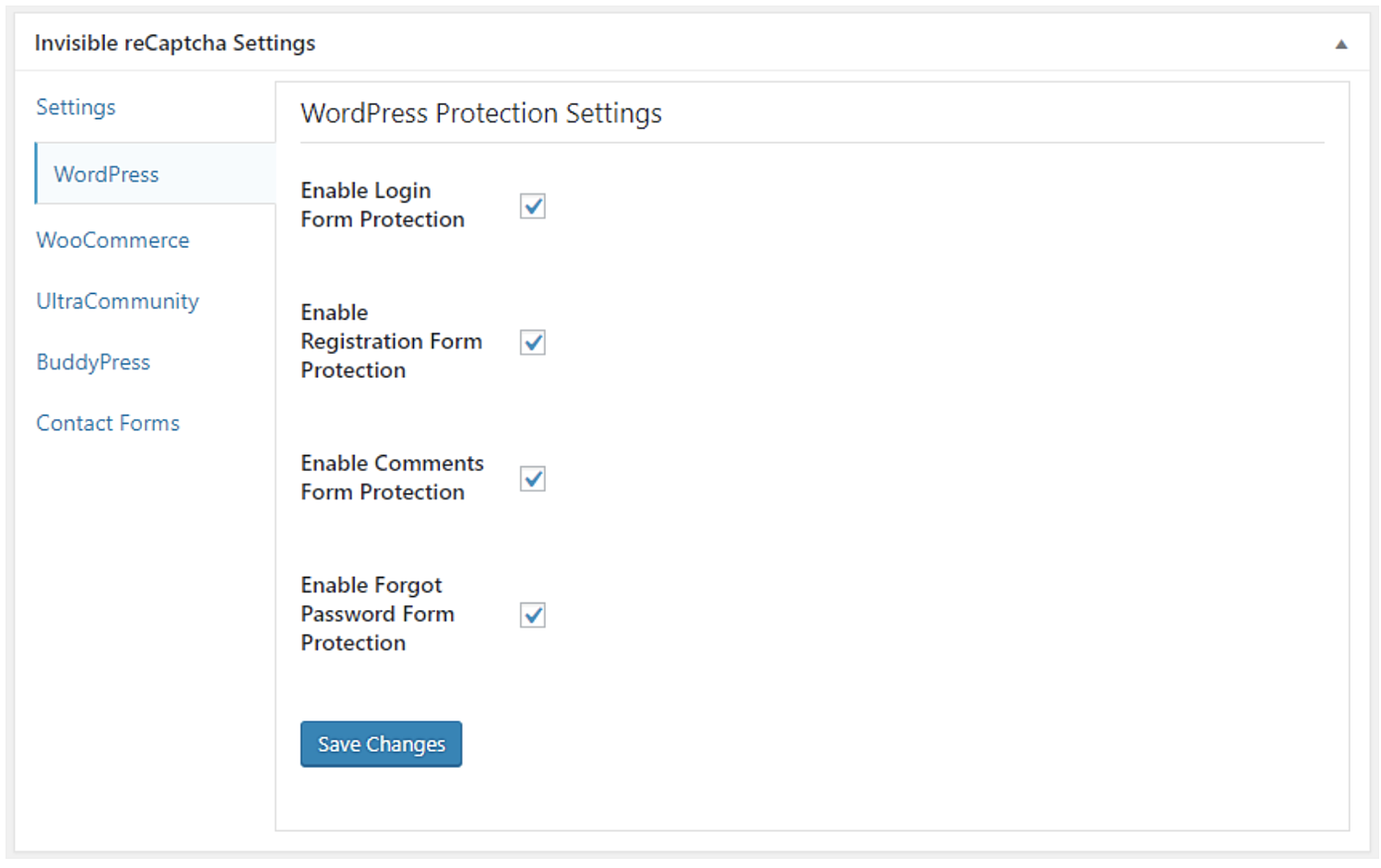protection settings control spam integrating google invisible recaptcha wordpress site