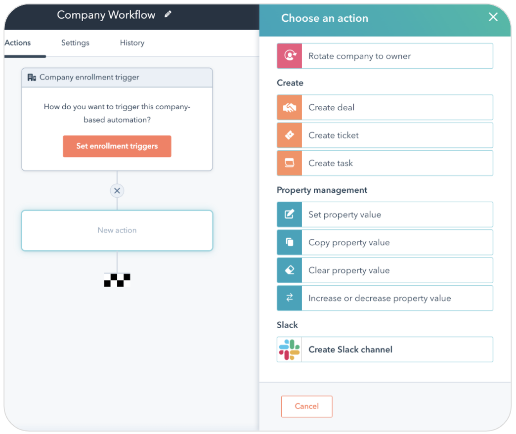 A screenshot of creating a workflow in HubSpot with the option to create a Slack channel as an action.