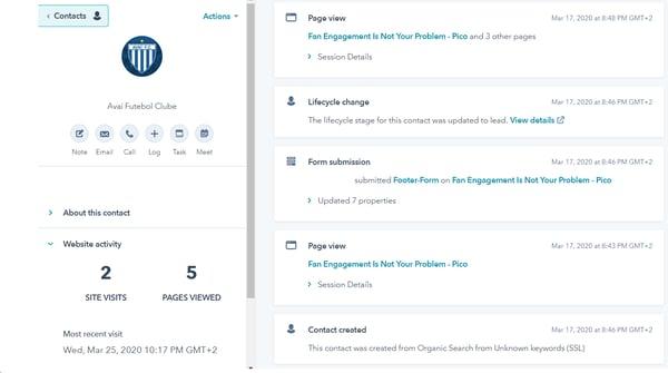 A screenshot of a website visitor's movement throughout the website shown via HubSpot Website Analytics