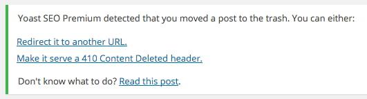 Yoast SEO Premium page deleted notice