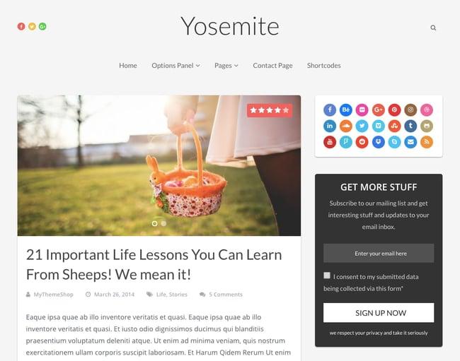 Yosemite theme demo with blog feed and sidebar